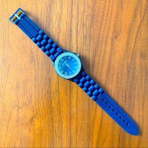 4/$20 Geneva navy blue silicone rubber watch